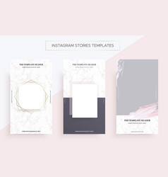 Instagram stories banner templates with marble vector