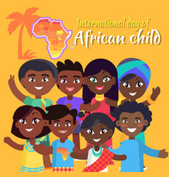 International african child day postcard with kids vector