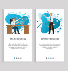 Internet or online business workers men vector