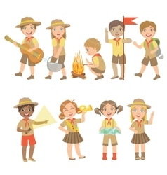 Kids Scouts Hiking Set vector image