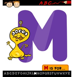 letter m with monster cartoon vector image