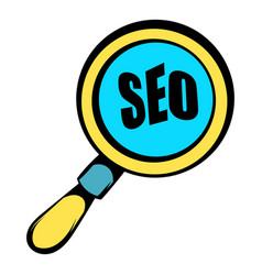 Magnifying glass with text seo icon icon cartoon vector