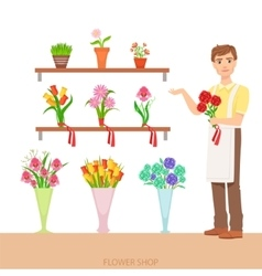 Male florist in the flower shop demonstrating the vector