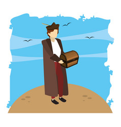Man christopher columbus with chest box vector