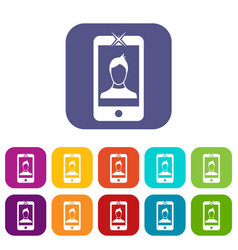 mobile phone with photo icons set vector image