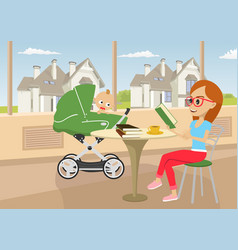 mother reading book with baby in stroller vector image