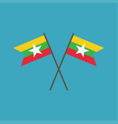 Myanmar flag icon in flat design vector
