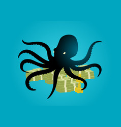 Octopus holding money with its tentacles vector