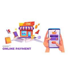 online payment banner smartphone credit card vector image