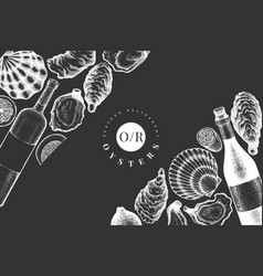 oysters and wine design template hand drawn on vector image