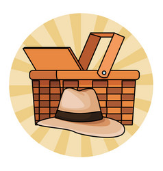 Panama hat and wicker basket vector