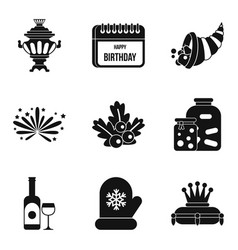 Paradise rest icons set simple style vector
