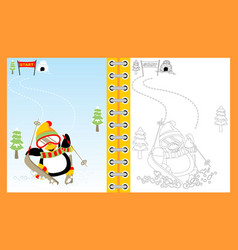 Penguin cartoon skiing on winter coloring bookpage vector