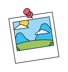 Photo with pin landscape nature vector