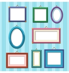 Picture frames on wall Flat photo frame set vector