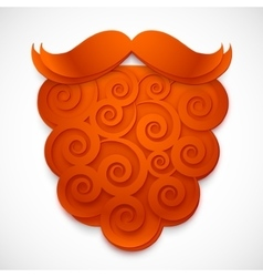Red curly paper fake beard with mustaches vector