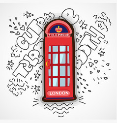 Red london telephone booth cute cartoon vector