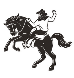 rider in cowboy hat riding horse vector image