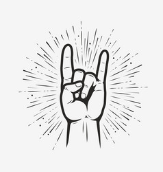 Rock on gesture symbol heavy metal hand gesture vector
