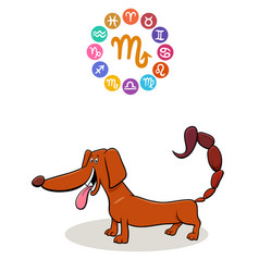 Scorpio zodiac sign with cartoon dog vector