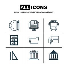 Set of 9 education icons includes document case vector