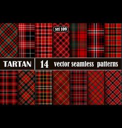 Set red tartan seamless pattern vector