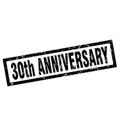 Square grunge black 30th anniversary stamp vector