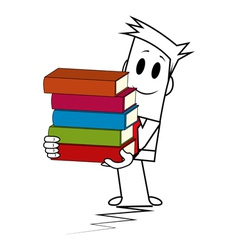 Square guy - book stack vector image