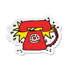 Sticker of a cartoon ringing telephone vector