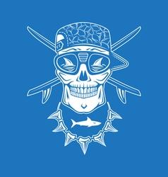 Surfing skull vector