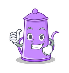 thumbs up purple teapot character cartoon vector image