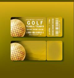 Ticket for premier league golf tournament vector