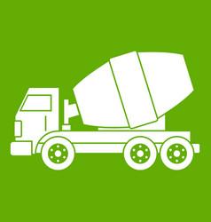 truck concrete mixer icon green vector image