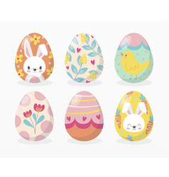variety easter eggs set vector image