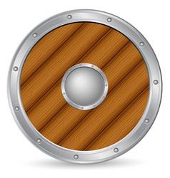 wooden shield 2 vector image