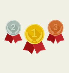 award medals from gold silver and bronze vector image