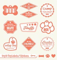 Dog Name Tag Labels vector image