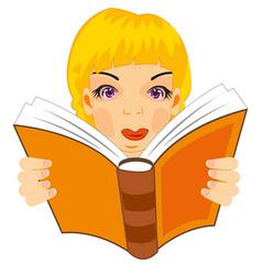 Girl reads book vector
