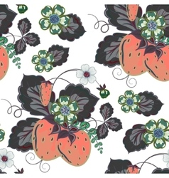halftone seamless pattern with a strawberry vector image