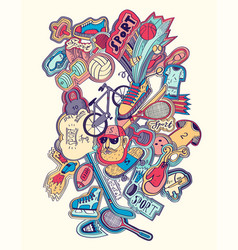 hand drawn doodles sport concept sports equipment vector image vector image