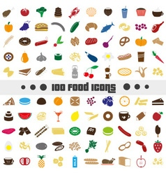 hundred various food and drink color icons big set vector image vector image