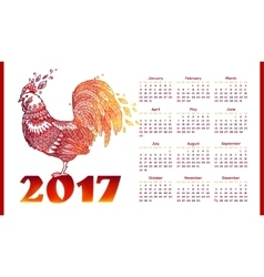 New Year calendar greed with red fiery roosters vector image vector image