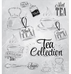 Set Tea Collection coal vector image