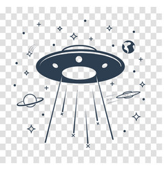 Silhouette ufo starry sky vector