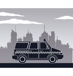taxi van car side view town background vector image vector image