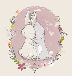 cute little hares with flowers vector image