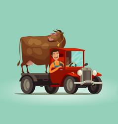 happy farmer and cow rides on truck farming farm vector image