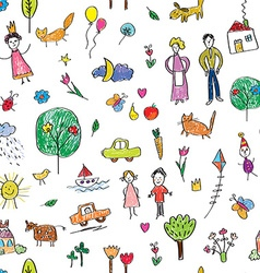 Kids drawing funny seamless pattern - cute vector image vector image