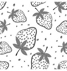 Seamless strawberry pattern Berry vector image