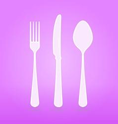violet cutlery set vector image vector image